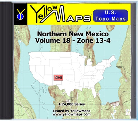 Buy digital map disk YellowMaps U.S. Topo Maps Volume 18 (Zone 13-4) Northern New Mexico
