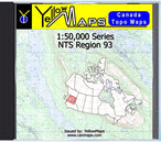 Buy digital map disk YellowMaps Canada Topo Maps: NTS Regions 93 from British Columbia Maps Store