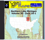 Buy digital map disk YellowMaps U.S. Topo Maps Volume 30 (Zone 16-1) Northern Lake Michigan from Michigan Maps Store