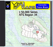Buy digital map disk YellowMaps Canada Topo Maps: NTS Regions 34 from Quebec Maps Store