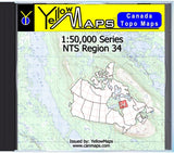 Buy digital map disk YellowMaps Canada Topo Maps: NTS Regions 34