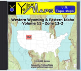 Buy digital map disk YellowMaps U.S. Topo Maps Volume 11 (Zone 12-2) Western Wyoming & Eastern Idaho
