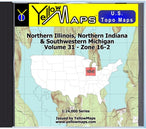 Buy digital map disk YellowMaps U.S. Topo Maps Volume 31 (Zone 16-2) Northern Illinois, Northern Indiana & Southwestern Michigan from Illinois Maps Store