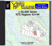 Buy digital map disk YellowMaps Canada Topo Maps: NTS Regions 43+44 from Ontario Maps Store