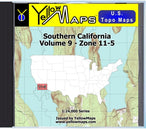 Buy digital map disk YellowMaps U.S. Topo Maps Volume 9 (Zone 11-5) Southern California from California Maps Store