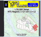 Buy digital map disk YellowMaps Canada Topo Maps: NTS Regions 1+2+10+11+12 from Nova Scotia Maps Store