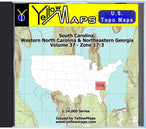 Buy digital map disk YellowMaps U.S. Topo Maps Volume 37 (Zone 17-3) South Carolina, Western North Carolina & Northeastern Georgia from South Carolina Maps Store