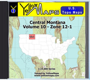 Buy digital map disk YellowMaps U.S. Topo Maps Volume 10 (Zone 12-1) Central Montana from Montana Maps Store