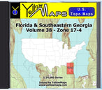 Buy digital map disk YellowMaps U.S. Topo Maps Volume 38 (Zone 17-4) Florida & Southeastern Georgia from Florida Maps Store