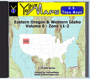 Buy digital map disk YellowMaps U.S. Topo Maps Volume 6 (Zone 11-2) Eastern Oregon & Western Idaho from Oregon Maps Store