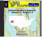 Buy digital map disk YellowMaps U.S. Topo Maps Volume 7 (Zone 11-3) Central Nevada & Yosemite from Nevada Maps Store