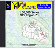 Buy digital map disk YellowMaps Canada Topo Maps: NTS Regions 23 from Newfoundland Maps Store