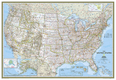 Buy map United States, Classic, Enlarged and Sleeved by National Geographic Maps