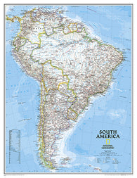 Buy map South America, Classic, Enlarged and Sleeved by National Geographic Maps