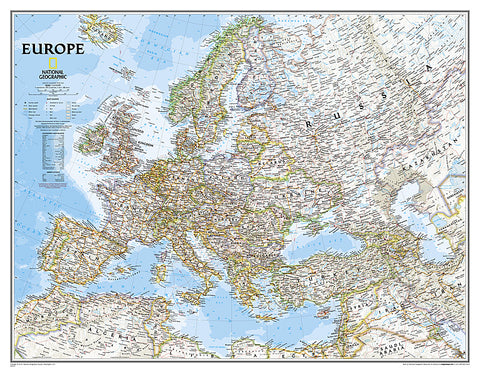 Buy map Europe, Classic, Enlarged and Sleeved by National Geographic Maps
