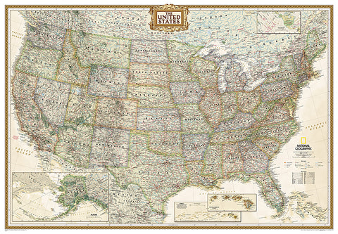 Buy map United States, Executive, Enlarged and Sleeved by National Geographic Maps