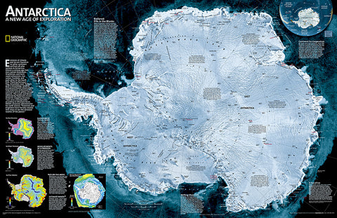 Buy map Antarctica Satellite, Laminated by National Geographic Maps