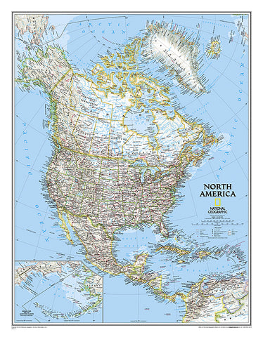 Buy map North America, Classic, Laminated by National Geographic Maps