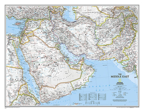 Buy map Middle East, Laminated by National Geographic Maps