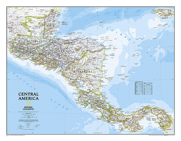 Buy map Central America, Classic, Laminated by National Geographic Maps