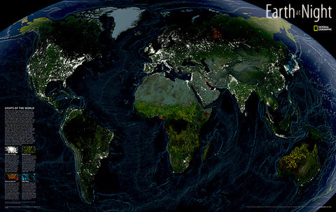 Buy map Earth at Night, Sleeved by National Geographic Maps