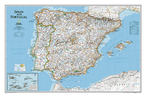 Buy map Spain and Portugal, Classic, Laminated by National Geographic Maps