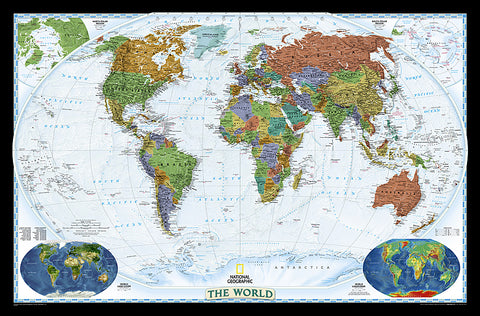 Buy map World, Decorator, Enlarged and Sleeved by National Geographic Maps
