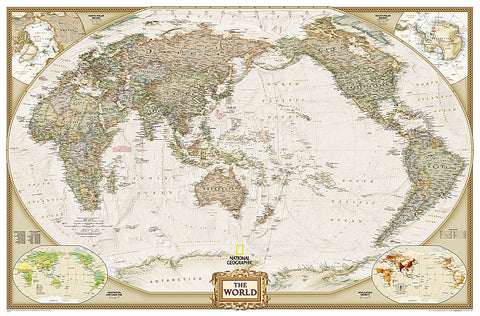Buy map World, Executive, Pacific-Centered, Enlarged and Sleeved by National Geographic Maps