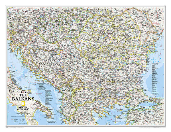 Buy map Balkans, Classic, Laminated by National Geographic Maps