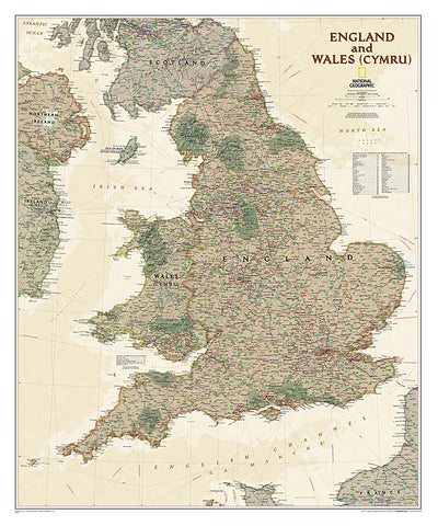 Buy map England and Wales, Executive, Laminated by National Geographic Maps
