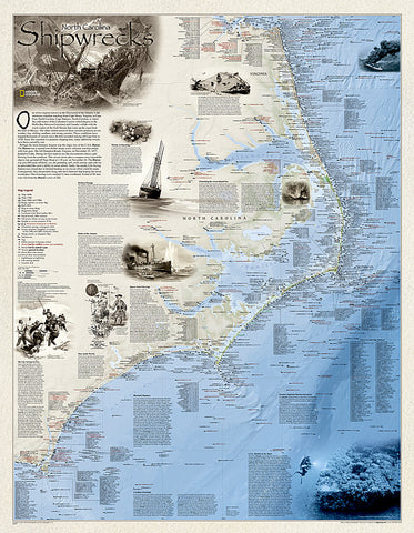 Buy map Shipwrecks of the Outer Banks, laminated by National Geographic Maps