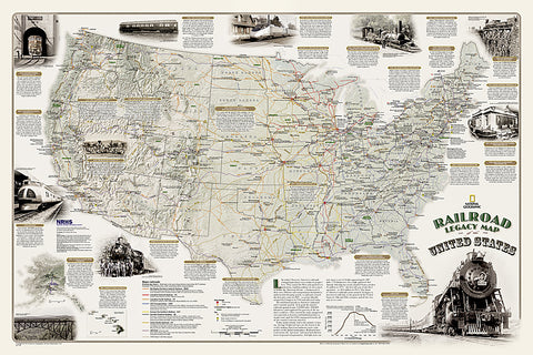 Buy map Americas Scenic Railways, Laminated by National Geographic Maps