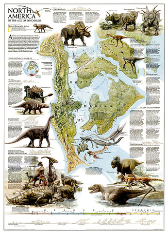 Buy map Dinosaurs of North America, Tubed by National Geographic Maps