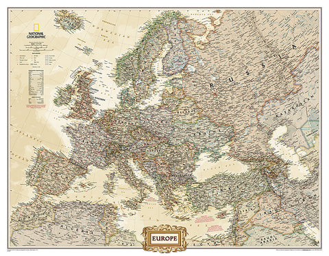 Buy map Europe Executive, Enlarged & Tubed by National Geographic Maps