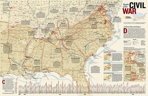 Buy map Battles of the Civil War, Tubed by National Geographic Maps