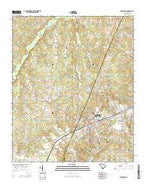 Batesburg South Carolina Current topographic map, 1:24000 scale, 7.5 X 7.5 Minute, Year 2014 from South Carolina Map Store