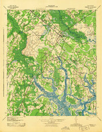 Yemassee South Carolina Historical topographic map, 1:62500 scale, 15 X 15 Minute, Year 1943