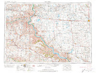 Mitchell South Dakota Historical topographic map, 1:250000 scale, 1 X 2 Degree, Year 1955