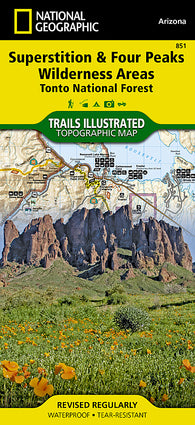 Buy map Superstition and Four Peaks Wilderness Areas, Map 851 by National Geographic Maps