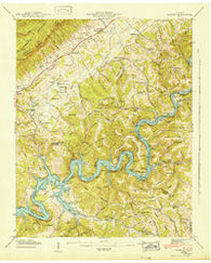Ausmus Tennessee Historical topographic map, 1:24000 scale, 7.5 X 7.5 Minute, Year 1942