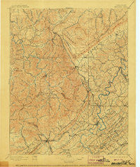 Briceville Tennessee Historical topographic map, 1:125000 scale, 30 X 30 Minute, Year 1896