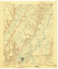 Chattanooga Tennessee Historical topographic map, 1:125000 scale, 30 X 30 Minute, Year 1888