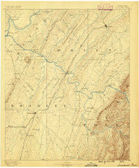 Cleveland Tennessee Historical topographic map, 1:125000 scale, 30 X 30 Minute, Year 1886
