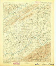 Greeneville Tennessee Historical topographic map, 1:125000 scale, 30 X 30 Minute, Year 1892