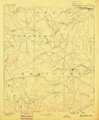 Hamilton Texas Historical topographic map, 1:125000 scale, 30 X 30 Minute, Year 1888
