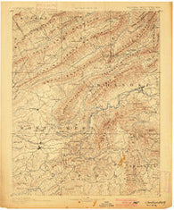 Christiansburg Virginia Historical topographic map, 1:125000 scale, 30 X 30 Minute, Year 1890