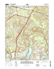 Dutch Gap Virginia Current topographic map, 1:24000 scale, 7.5 X 7.5 Minute, Year 2016 from Virginia Maps Store