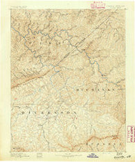 Grundy Virginia Historical topographic map, 1:125000 scale, 30 X 30 Minute, Year 1890