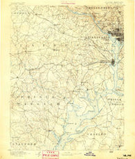 Mt. Vernon Virginia Historical topographic map, 1:125000 scale, 30 X 30 Minute, Year 1891