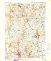 Brattleboro Vermont Historical topographic map, 1:62500 scale, 15 X 15 Minute, Year 1891